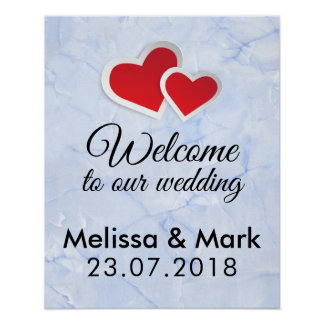 Welcome To Our Wedding 2 Red Hearts Poster