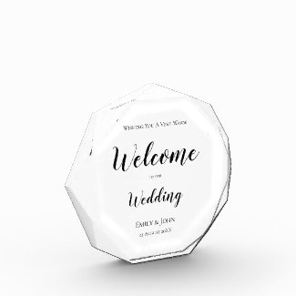 Welcome to our Wedding Black typography/White Sign Photo Block