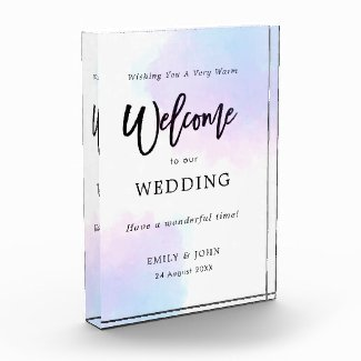 Welcome To Our Wedding Pastel Lilac Watercolor Photo Block