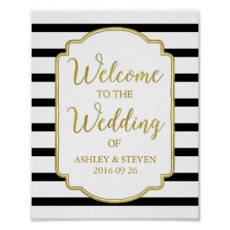 Welcome to our Wedding Sign Gold Black Stripes Poster