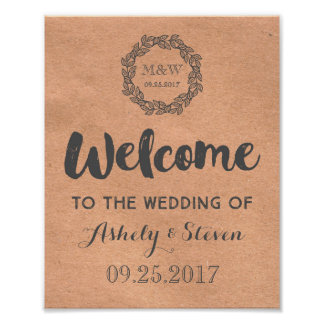 Welcome to our Wedding Sign Kraft Paper Wreath