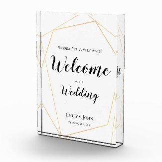 Welcome to our Wedding Text/Gold Geometric Sign Photo Block