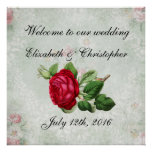 Welcome to our Wedding Vintage Red Rose Poster
