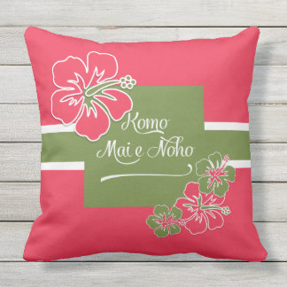 Welcome to Paradise Hot Pink Hibiscus Hawaiian Outdoor Pillow