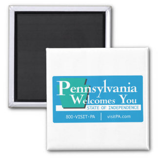 Welcome to Pennsylvania - USA Road Sign 2 Inch Square Magnet