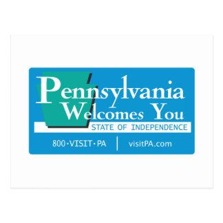 Welcome to Pennsylvania - USA Road Sign Postcard