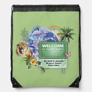 Welcome to Planet Earth Drawstring Backpack