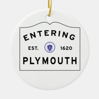 Welcome to Plymouth MA town sign Ceramic Ornament