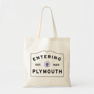 Welcome to Plymouth MA town sign Tote Bag