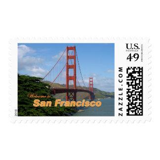 Welcome to San Francisco - Golden Gate Bridge Postage Stamp