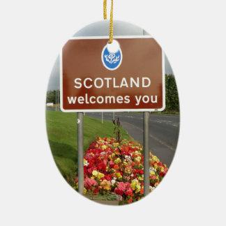 Welcome to Scotland - Anglo-Scottish Border Sign Ceramic Ornament