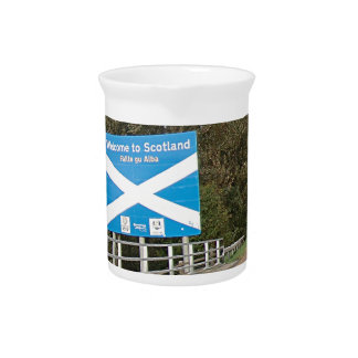 Welcome to Scotland - Anglo-Scottish Border Sign Drink Pitcher