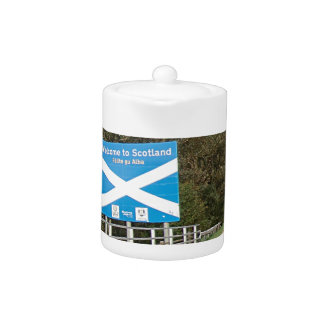 Welcome to Scotland - Anglo-Scottish Border Sign Teapot