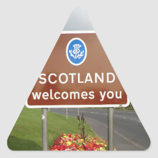 Welcome to Scotland - Anglo-Scottish Border Sign Triangle Sticker