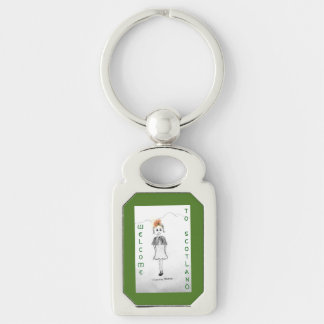 Welcome to Scotland Silver-Colored Rectangular Metal Keychain