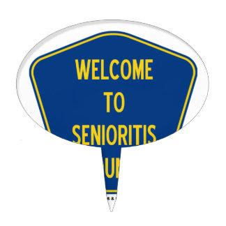 Welcome To Senioritis County (Sign Humor) Cake Picks