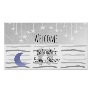 Welcome to Stars and Moon Baby Shower Personalized Poster