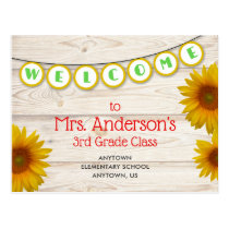 Welcome to Teacher's Class Yellow Daisies Rustic Postcard