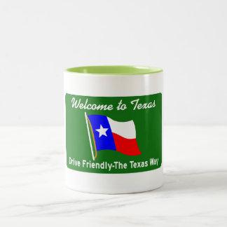 Welcome to Texas - USA Road Sign Two-Tone Coffee Mug