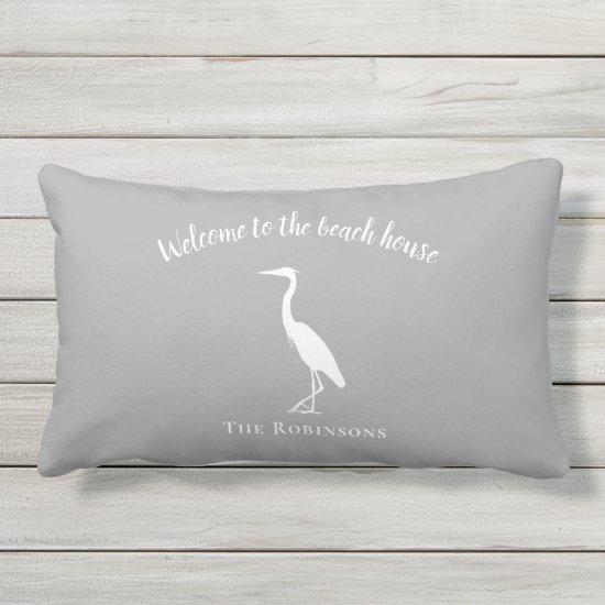Welcome to the beach house heron decor family name lumbar pillow