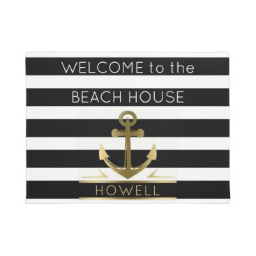 Beach Themed Welcome to the Beach House Nautical Anchor Name Doormat