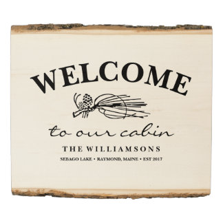 Welcome to the Cabin Lake House Personalized Name Wood Panel
