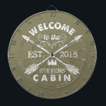 "Welcome to the Cabin | Rustic Arrows Personalized Dartboard<br><div class=""desc"">Spend your leisurely hours playing darts with this fun, unique dartboard. Design features an olive green background with &quot;Welcome to the [Name] Cabin&quot; in rustic block text and two crossed arrows. Customize with your family name and the year established. Makes an awesome housewarming present or gift for your weekend hosts!...</div>"