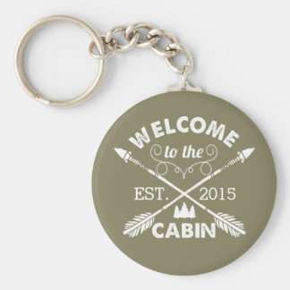 Welcome to the Cabin | Rustic Olive & White Keychain