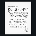 "Welcome to the Candy Buffet - Box - Wedding Sign<br><div class=""desc"">This whimsical sign is perfect to place on the candy bar buffet table at your wedding. All you need to do is either attach it to the wall behind the candy buffet or place it in a frame and put it right on the table. This is the &quot;take a box&quot;...</div>"