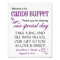 Welcome to the Candy Buffet Violet Wedding Sign