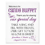 Welcome to the Candy Buffet Violet Wedding Sign Photograph