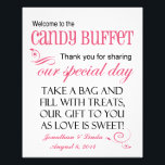 "Welcome to the Candy Buffet Watermelon Pink Sign<br><div class=""desc"">This whimsical personalized sign is a combination of black and watermelon pink in a mixture of fonts. Add your names and date to add the special touch. This sign is perfect to place on the candy bar buffet table at your wedding. All you need to do is either attach it...</div>"