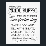 "Welcome to the Candy Buffet Wedding Sign Black<br><div class=""desc"">This whimsical personalized sign is perfect to place on the candy bar buffet table at your wedding. All you need to do is either attach it to the wall behind the candy buffet or place it in a frame and put it right on the table.</div>"