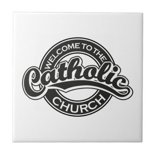 Welcome to the Catholic Church in Black Ceramic Tile