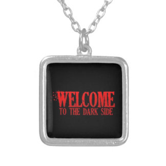 WELCOME TO THE DARK SIDE RED BLACK MOTTO COMMENTS SQUARE PENDANT NECKLACE