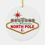 Welcome To The Fabulous North Pole (Vegas Sign) Double-Sided Ceramic Round Christmas Ornament