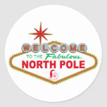 Welcome To The Fabulous North Pole (Vegas Sign) Classic Round Sticker