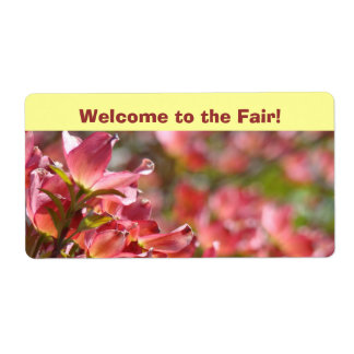 Welcome to the Fair! Name Tag Labels Pink Dogwood