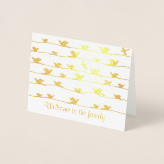 Welcome to the Family, Flock of Birds on Wires Foil Card