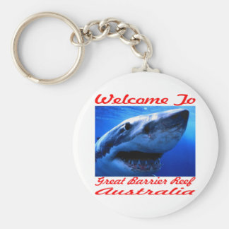 Welcome To The Great Barrier Reef Shark Keychain