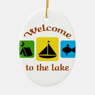 Welcome To The Lake Ceramic Ornament