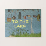 """Welcome to the Lake Heron Jigsaw Puzzle<br><div class=""""desc"""">Deluxephotos features nautical welcome to the lake with heron at the edge photo puzzle. Great for anyone or any occasion. Easy to customize it to make it your own. Available in other colors, sizes and/or styles. Be Smart Save Money Shop Online on my Deluxephotos* Zazzle Store. Deluxecontractorforms.com/deluxephotos.html thanks you for...</div>"""