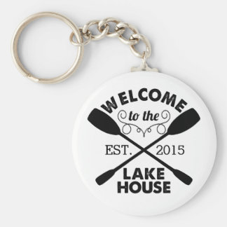 Welcome to the Lake House Basic Round Button Keychain