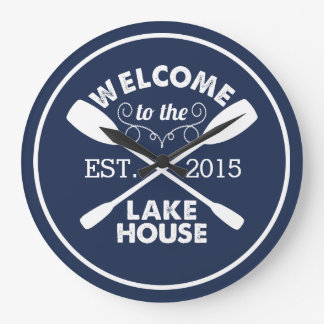 Welcome to the Lake House | Canoe Paddles Large Clock
