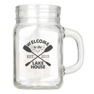 Welcome to the Lake House Mason Jar