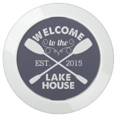 Welcome To The Lake House | Navy & White Paddles Usb Charging Station at Zazzle