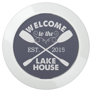 Welcome to the Lake House | Navy & White Paddles USB Charging Station