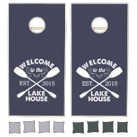 Welcome to the Lake House | Rustic Canoe Paddles Cornhole Set