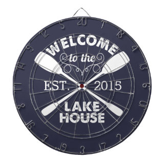 Welcome to the Lake House | Rustic Canoe Paddles Dartboard With Darts