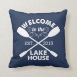 "Welcome to the Lake House | Rustic Navy Throw Pillow<br><div class=""desc"">Dress up your weekend home with this rustic-chic throw pillow. Navy blue and white pillow features &quot;Welcome to the Lake House&quot; in woodsy vintage typeface with a rope illustration and two crossed canoe paddles. Customize with the year you started life at the lake! Great housewarming or hostess gift,  too.</div>"